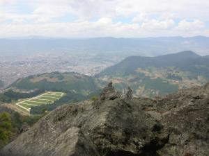 View from the cumbre: Almolonga down to the left, Xela down to the right.